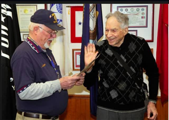 92-year-old Irwin N.Talbot, Ph.D and a WWll Navy Officer, was sworn in as a member of American Legion Post 162 of Hillsdale, Woodcliff Lake and Old Tappan.