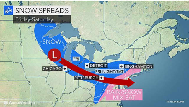 A look at the system that is expected to bring snow to the area on Saturday.