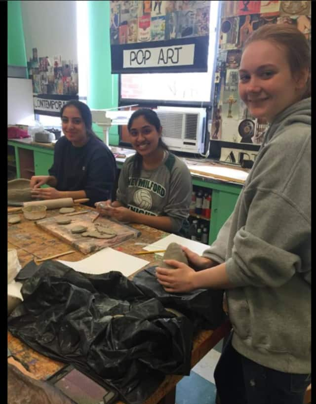 New Milford High School students experienced Raku during a two-day workshop.