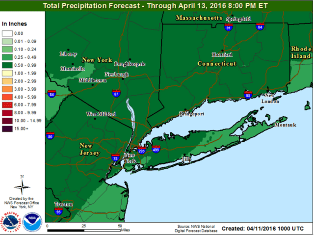 A look at rainfall projections through early Wednesday.