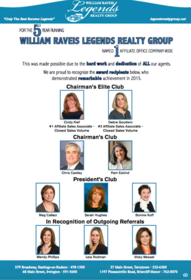 Agents from William Raveis in Irvington earned company sales awards.