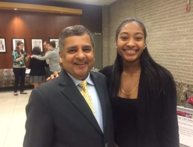 Alanna McCatty with Uday Sukhatme, Pace's provost and Executive Vice President for Academic Affairs.
