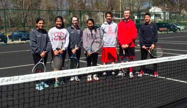 Pompton Lakes students recently volunteered at a Rec Department tennis clinic.