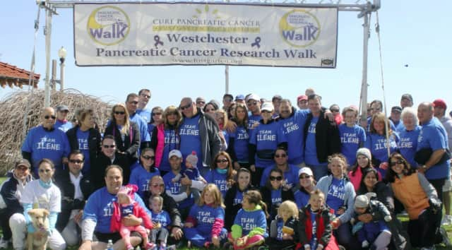 "Scott Morgan [front row, fourth from left] of New Canaan with Team ""Ilene"" at The Lustgarten Foundation's annual Westchester Pancreatic Cancer Research Walk. The event will be held at Rye Playland Park in Rye, New York, on Sunday, April 17."