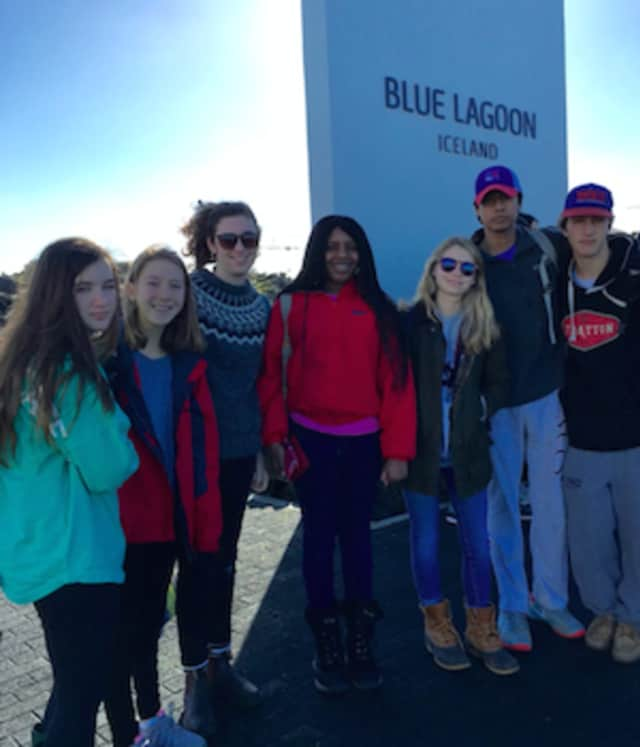 New Canaan Country School students, from left, Roan Scanlon-Black, Wilton; Holly Diomede, Norwalk; Lucy Carroll, Nyack, N.Y.; Daltanette Mitchell, Stamford; Meghan Musto, New Canaan; Chris Zegarra, Norwalk; and Grady Norton of Stamford In Iceland.