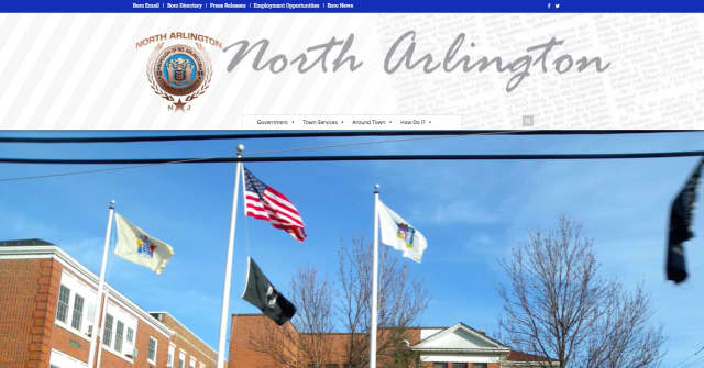 The homepage of the new North Arlington website.