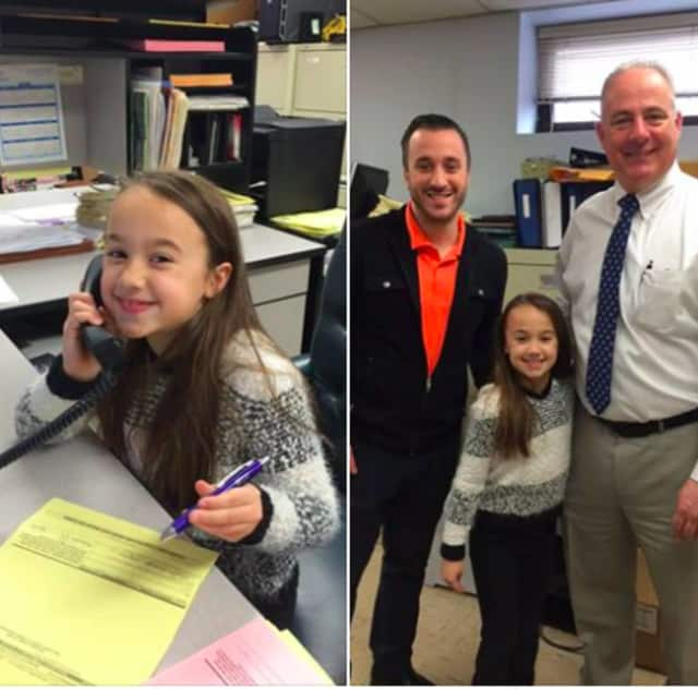 "Tim and Mia Conte with Mayor Robert White on ""Take Your Daughter to Work Day"""