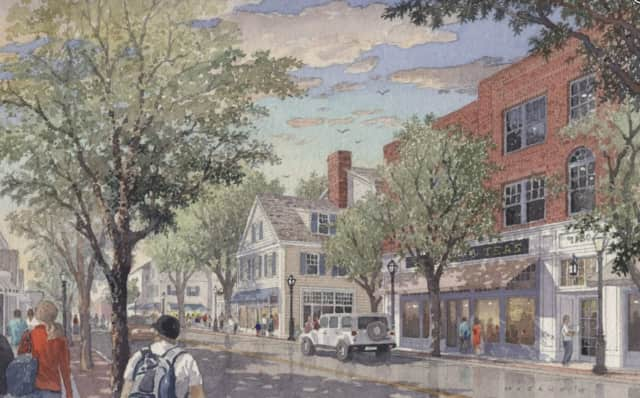 A rendering of what Post Road would look like under the revitalization plan for downtown Darien.