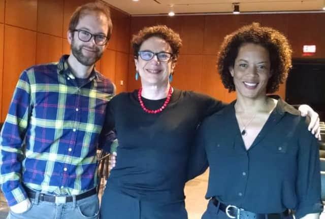 Author Aminatta Forna, right, shown with Anthony Domestico, assistant professor of literature, Louise Yelin, professor of literature, visited Purchase College April 13.