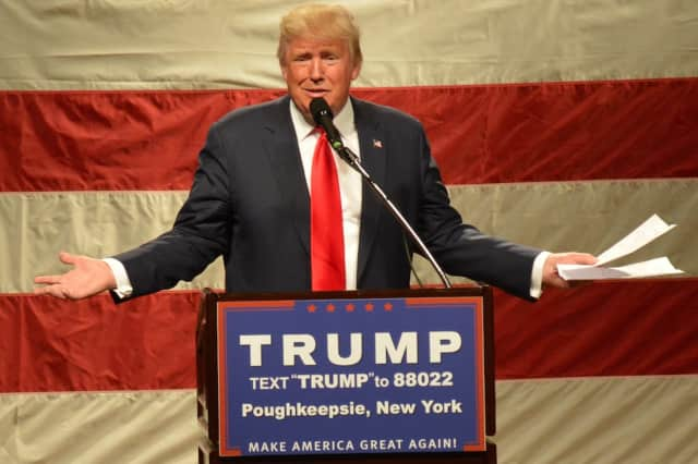 Donald Trump speaks at a recent rally in Poughkeepsie.