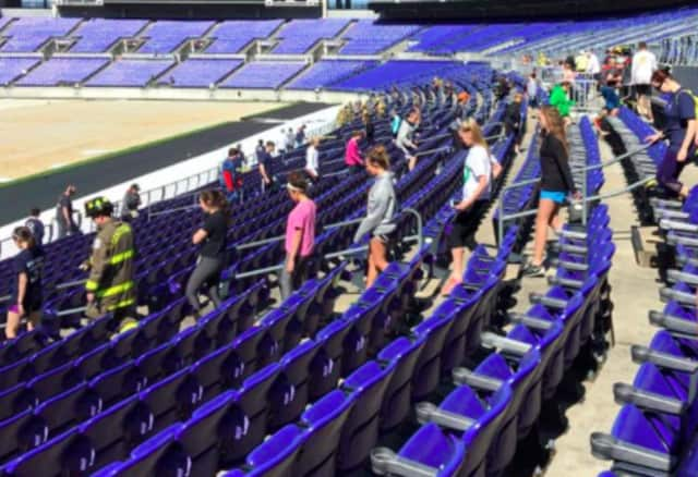 The memorial stair climb took place at M&T Bank Stadium, in Baltimore.