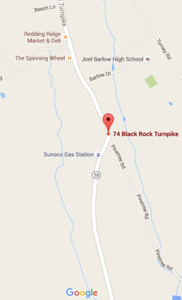 Route 58 is closed Monday just south of Redding Ridge after a car crash.