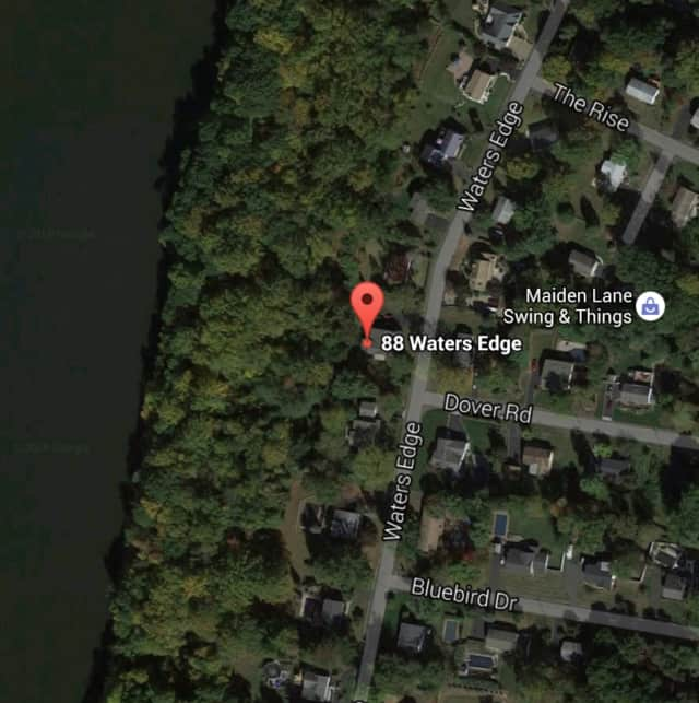The area of the brush fire on Waters Edge in Congers.