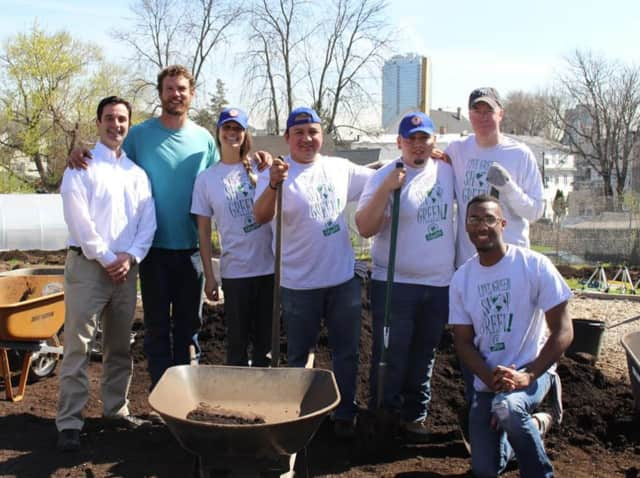 ShopRite associates from the Grade A ShopRite of Commerce Street volunteered April 21 at Fairgate Farm, a community farm that provides free fruit and vegetables to Stamford residents, food banks and other groups.