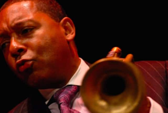 Wynton Marsalis led a Master Class April 20 with 19 students from the Hartt College of Music.