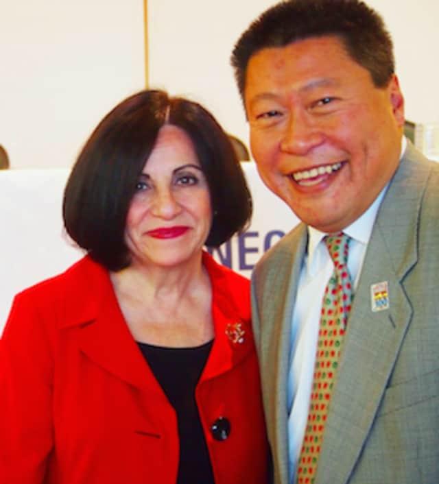 State Sens. Toni Boucher, left, and Tony Hwang