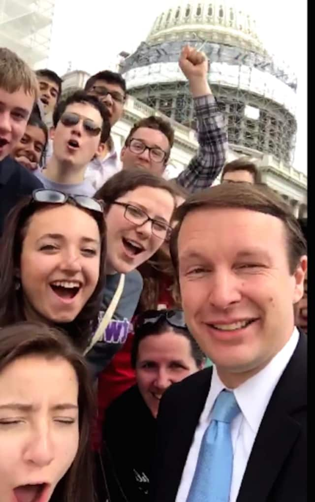 U.S. Sen. Chris Murphy, seen here celebrating with the Trumbull We the People team on Capitol Hill, was named by USA Today as a possible running mate for Hillary Clinton.