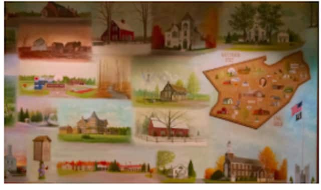 The Historical Mural at the Edith Wheeler Memorial Library was painted by artist David Merrill. Meet Merrill at a gala benefit May 14 for the Monroe Historical Society at the library.
