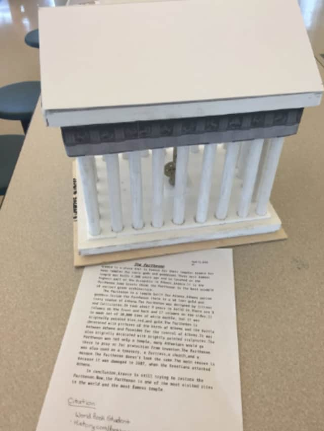 This is an example of some of the Ancient Greece projects done by sixth-graders at Peekskill Middle School.