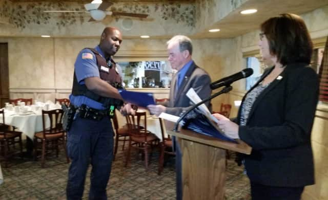 Rockland County Executive Ed Days honored 27 police officers for arrested more than 330 drunk drivers in 2015. Shown is Ramapo Police Officer Wayne Mitchell who made 10 arrests.
