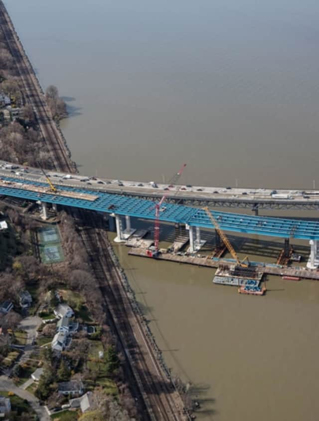 Construction on the new Tappan Zee Bridge near the Westchester landing in Tarrytown.