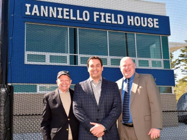 From left, Pace University President Stephen J. Friedman; Pace alumnus and trustee Joseph Ianniello and Pace Director of Athletics Mark Brown.