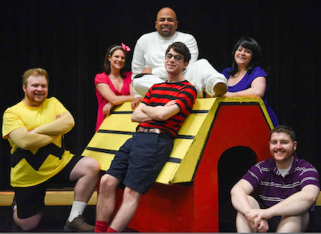 "Pictured are Matthew Casey (Charlie Brown), Jenifer Condon (Sally Brown) Chris Meindl (Snoopy), Noam Ben Yakir (Linus Van Pelt), Melinda Zupaniotis (Lucy Van Pelt), and Billy Schubeck (Schroeder) in ""You're A Good Man, Charlie Brown."""