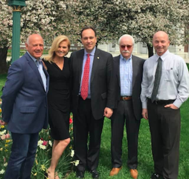 American Cancer Society Community Leaders announced Peter Tesei will serve as this year's honoree at the American Cancer Society Local Philanthropist Roast. Left to right: FJ Mercede, Megan Couch, Peter Tesei, Steve Folb and Greg Durkin.