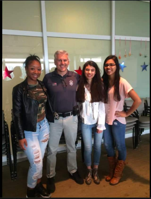 Ajanee Joyner, Valerie Velez and Karla Mayorga from Brien McMahon High School in Norwalk were recognized as Students of the Marking Period for their efforts in assisting School Resource Officer Patrick English with various situations at BMHS.