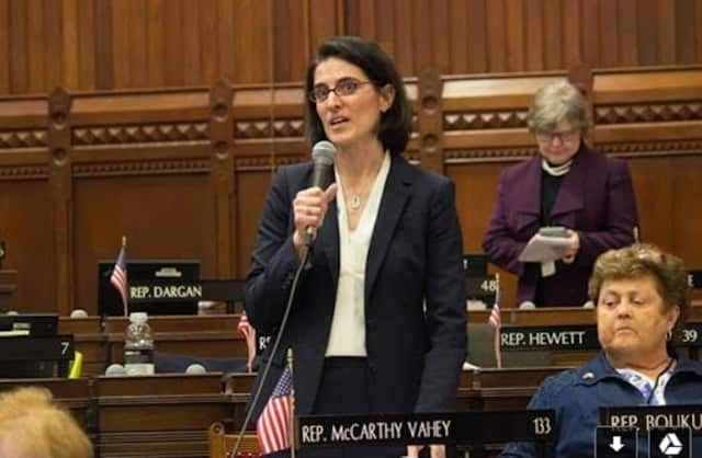 Rep. McCarthy Vahey recently introduced legislation concerning student data privacy on the House floor.