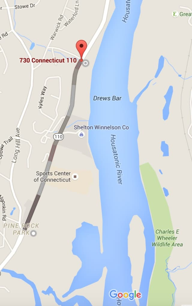 Route 110 is closed for nearly a mile near the Sports Center of Connecticut.