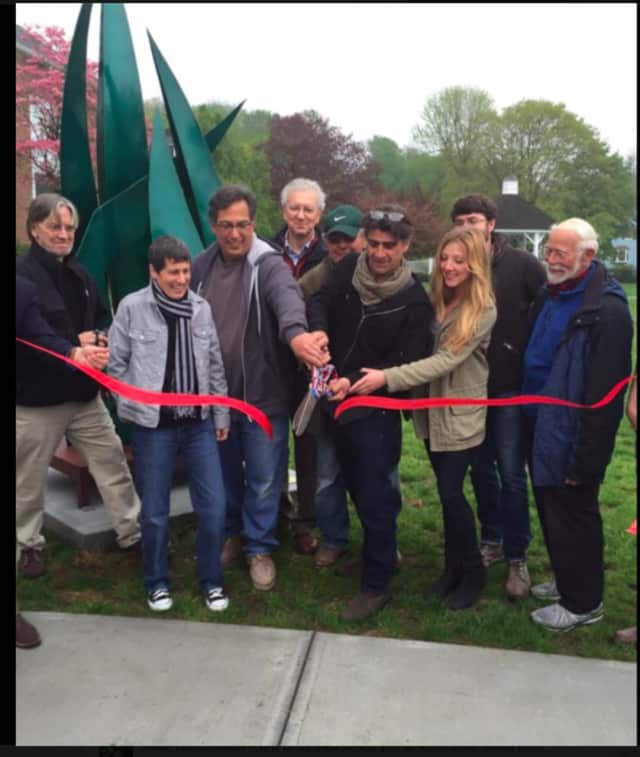 The grand opening and ribbon cutting for the Bethel Outdoor Public Sculpture Exhibit took place on Saturday, May 7, on the Municipal Center Lawn, at 1 School St.