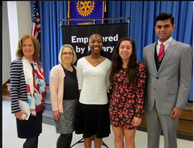 Winners of the Trumbull Rotary 4 Way Test Speech Contest are First Place, Danielle Cross; Second Place, Julia Esposito; and Third Place, Anush Sureshbabu