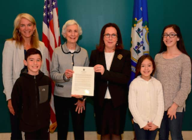 From left,  Horizons Executive Director, New Canaan Country School Kerry Yeager Stevens; town resident and Horizons student Alberto Reyes; Jill Stevens; Town Clerk Claudia Weber; and town residents and Horizons students Ambar Reyes and Sandra Reyes.