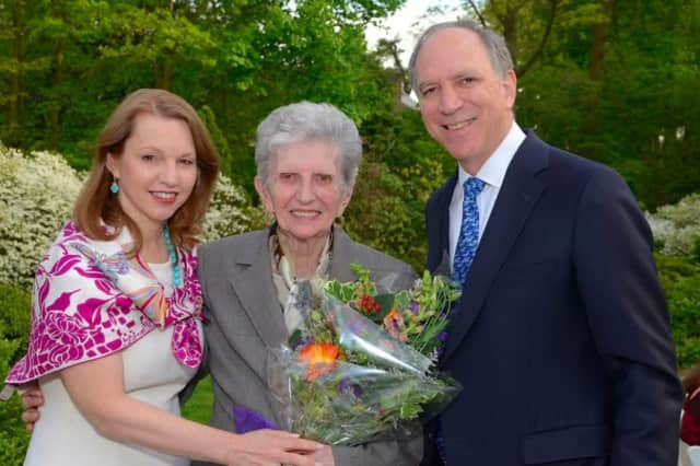 Longtime White Plains Hospital volunteer Celeste Vazzana (center), of Scarsdale with President and CEO Susan Fox, of Larchmont; and Chairman of the Board of Directors Larry Smith, of Scarsdale.