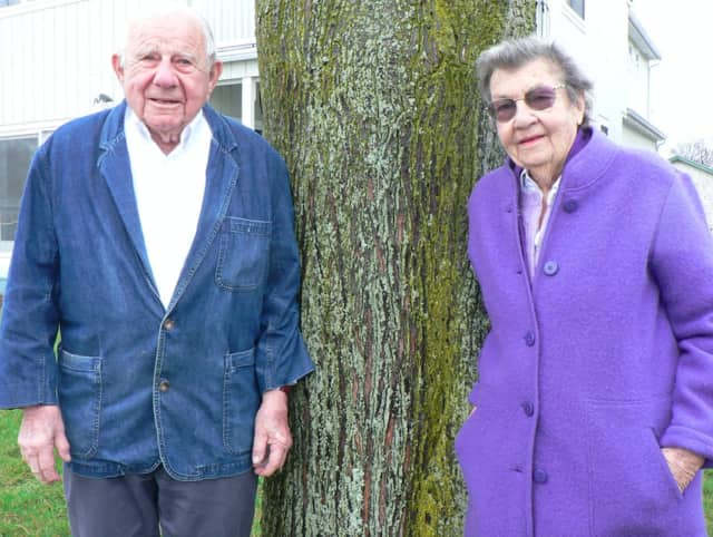 John and Lucy Jinishian in the front yard of their Marvin Beach cottage. They have been named Norwalk's Tree Advocates of the Year.