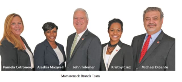 John Tolomer, center, and the Mamaroneck team at the Westchester Bank will attend a ribbon cutting ceremony on Saturday, May 21.
