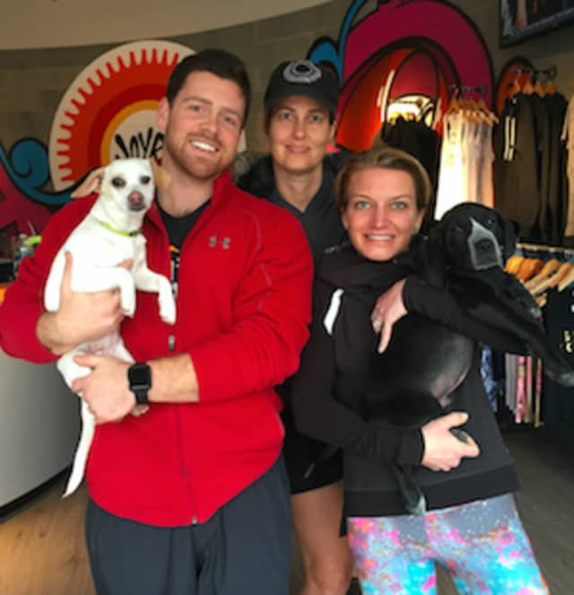 Bill Gallagher (Dynamic Athletics), Katherine Snedaker (Tails of Courage Foster) and Rhodie Lorenz (JoyRide co-founder) are joining together for a fundraiser Saturday for Tails of Courage.