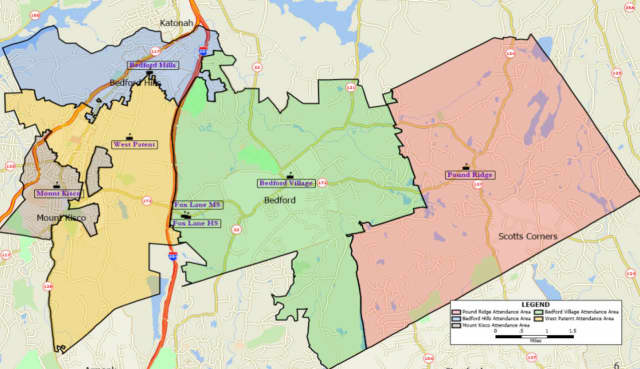 A map showing the five elementary school attendance zones in the Bedford Central School District. The attendance zones are used as election districts for budget and school board votes.