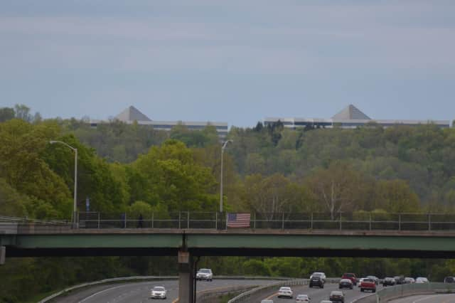 The pyramid-topped buildings at IBM's once bustling campus in Somers. The buildings are pictured in a view from Goldens Bridge.