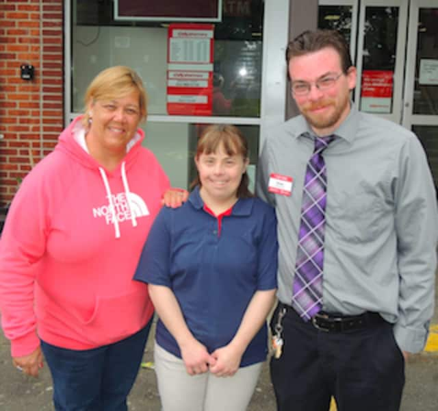Cathy Morton from STAR, Nicky DuBiago and Michael DePascale. Dubiago recently celebrated 20 years of service working for CVS in New Canaan.