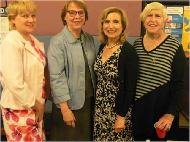 Nancy Zorena, second from right, was honored as Monroe's Outstanding Citizen for 2016. Flanking her from left are past winners Deb Heim, Karen Burnaska and Enid Lipeles.