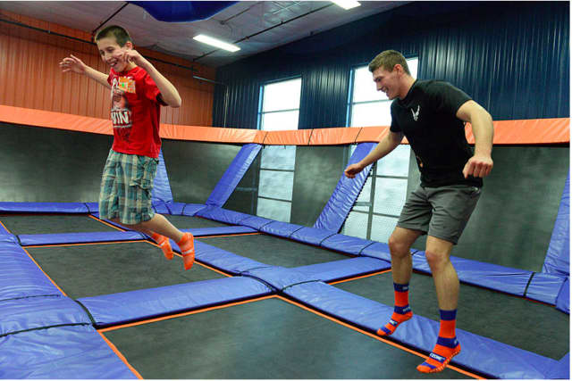 Jump Off Indoor Trampoline Park and Fun Zone includes more than 95 interconnected trampolines.