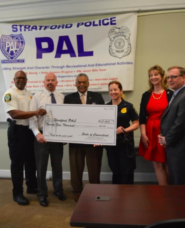 Left to right: Stratford Police Chief Patrick Ridenhour, state Rep. Joseph Gresko, state Sen. Ed Gomes, Police Lt. Melissa Niediec, state Rep. Laura Hoydick and Mayor John Harkins