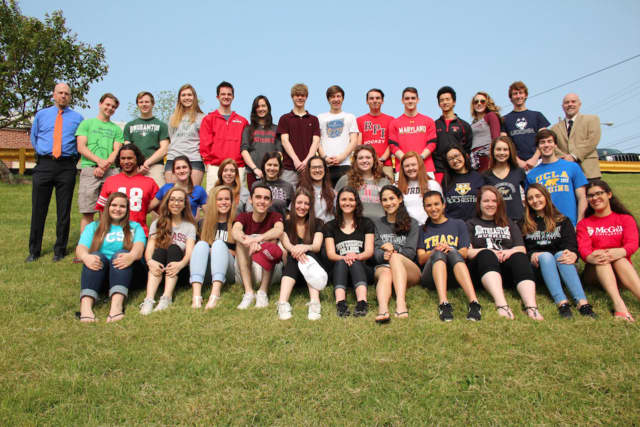 Students representing the top 10 percent of Carmel High School's Class of 2016 pose for a group photo.