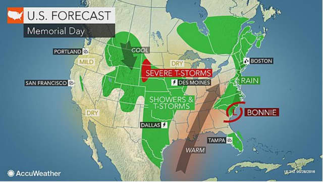 A look at Monday's Memorial Day forecast shows plenty of rain in the area.