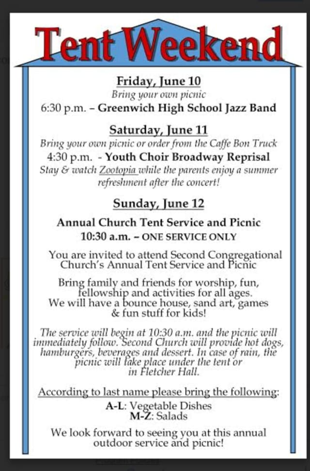 "Second Congregational Church of Greenwich invites people to its ""Tent Weekend"" on June 10-12."