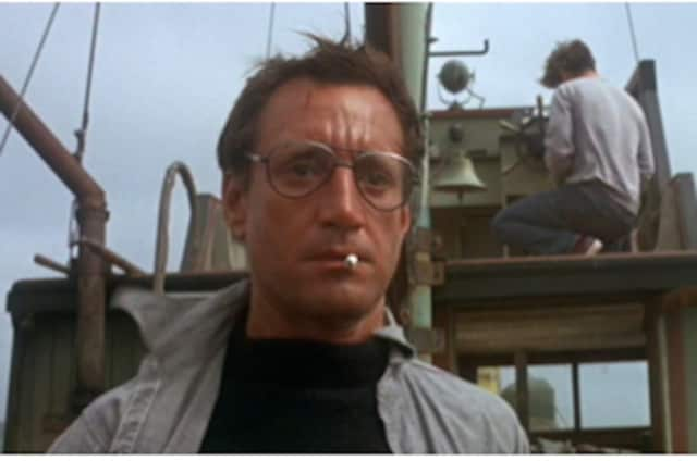 "Roy Scheider reacts in a scene from ""Jaws"" which will be shown at Stamford's Avon Theatre."