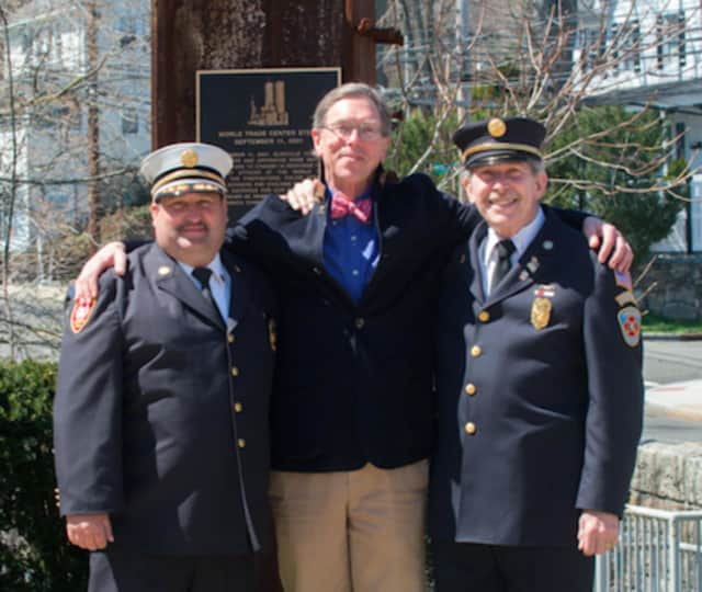 From left: Mike Hoha, Glenville Volunteer Fire Company district chief, Terry Betteridge, owner of Betteridge Jewelers and Sandy Kornberg, Glenville Volunteer Fire Company president.
