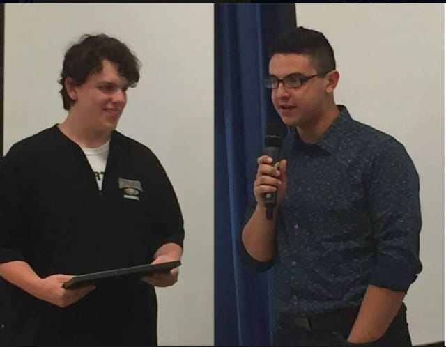 The Trumbull Rotary Club recognizes Student of the Month honorees Carlo Tomasio (Trumbull High School) and Juan Diego Torres Brenes-LaRoche (Christian Heritage in Trumbull).